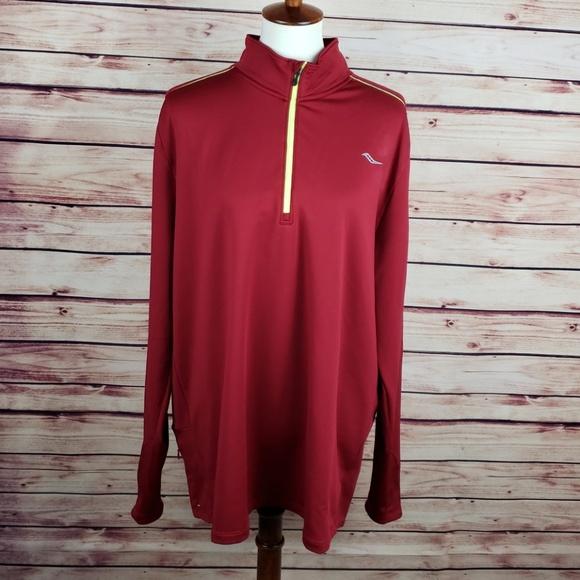 b9544705 Saucony Maroon XXL Running Pullover Zip Up Jacket